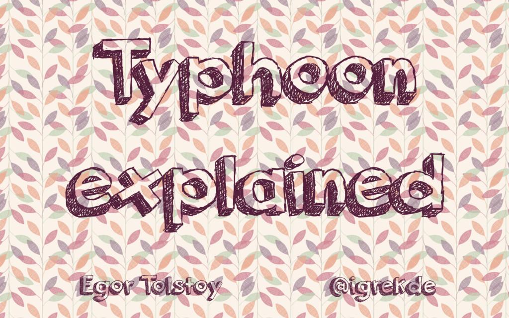 T yphoon explained Egor T olstoy @igrekde