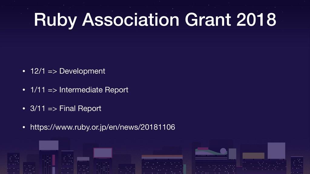 Ruby Association Grant 2018 • 12/1 => Developme...