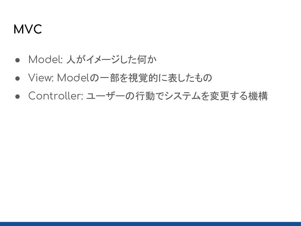 MVC ● Model: 人がイメージした何か ● View: Modelの一部を視覚的に表し...