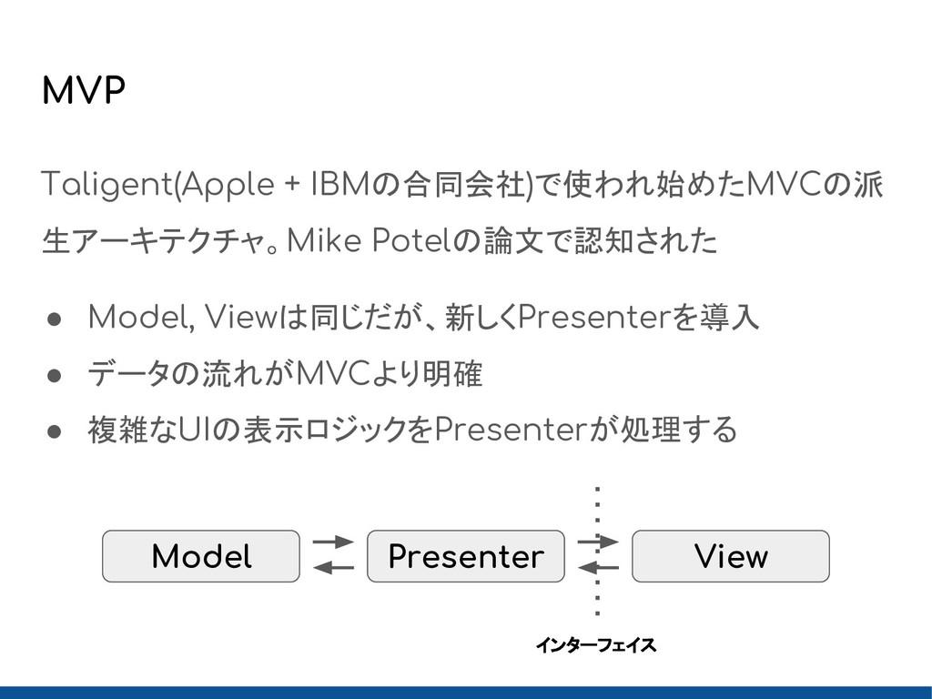 MVP Taligent(Apple + IBMの合同会社)で使われ始めたMVCの派 生アーキ...