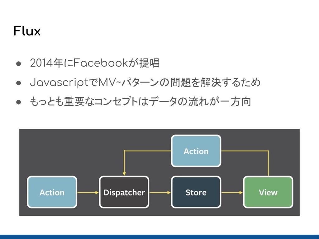 Flux ● 2014年にFacebookが提唱 ● JavascriptでMV~パターンの問...