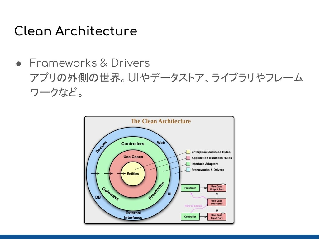 Clean Architecture ● Frameworks & Drivers アプリの外...