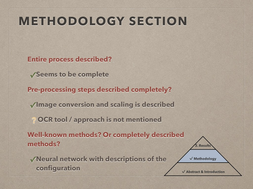 METHODOLOGY SECTION Entire process described? ✓...