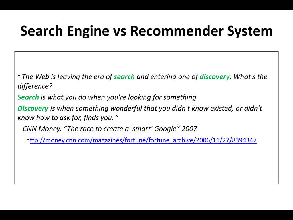 """Search Engine vs Recommender System """" The Web i..."""