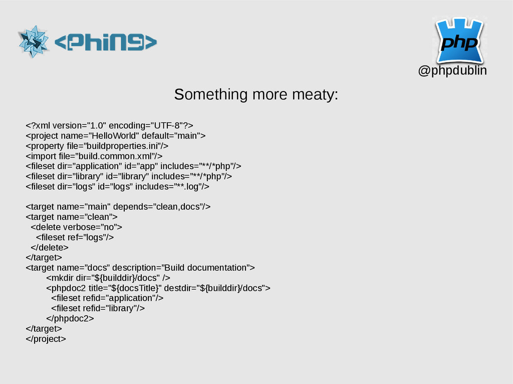 @phpdublin Something more meaty: <?xml version=...