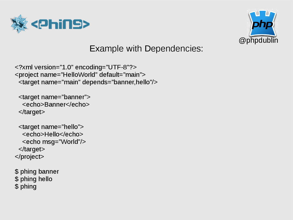 @phpdublin Example with Dependencies: <?xml ver...