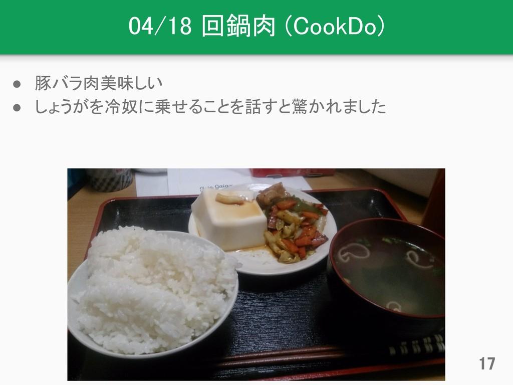 04/18 回鍋肉 (CookDo) ● 豚バラ肉美味しい ● しょうがを冷奴に乗せることを話...