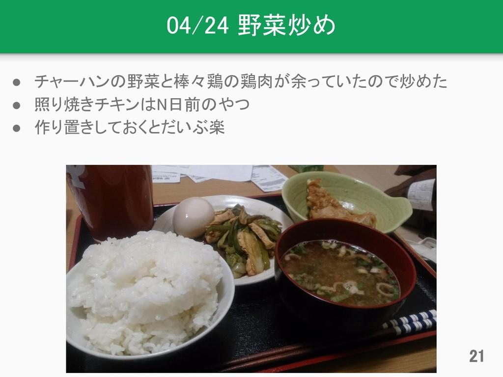 04/24 野菜炒め ● チャーハンの野菜と棒々鶏の鶏肉が余っていたので炒めた ● 照り焼きチ...