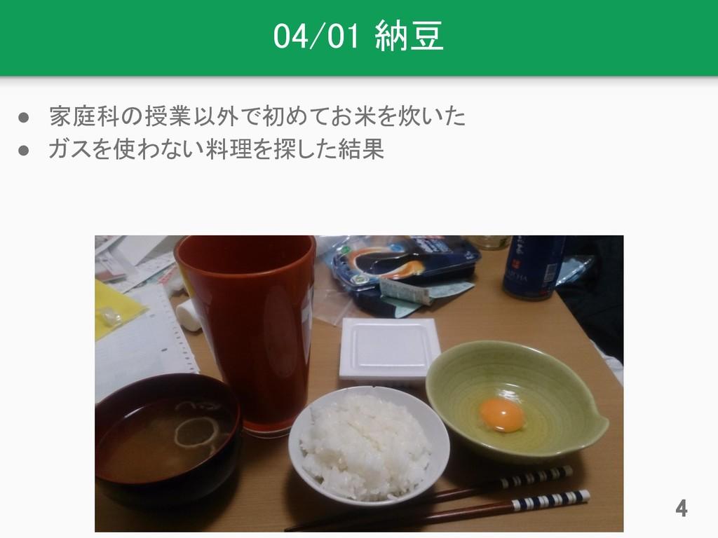 04/01 納豆 ● 家庭科の授業以外で初めてお米を炊いた ● ガスを使わない料理を探した結果...
