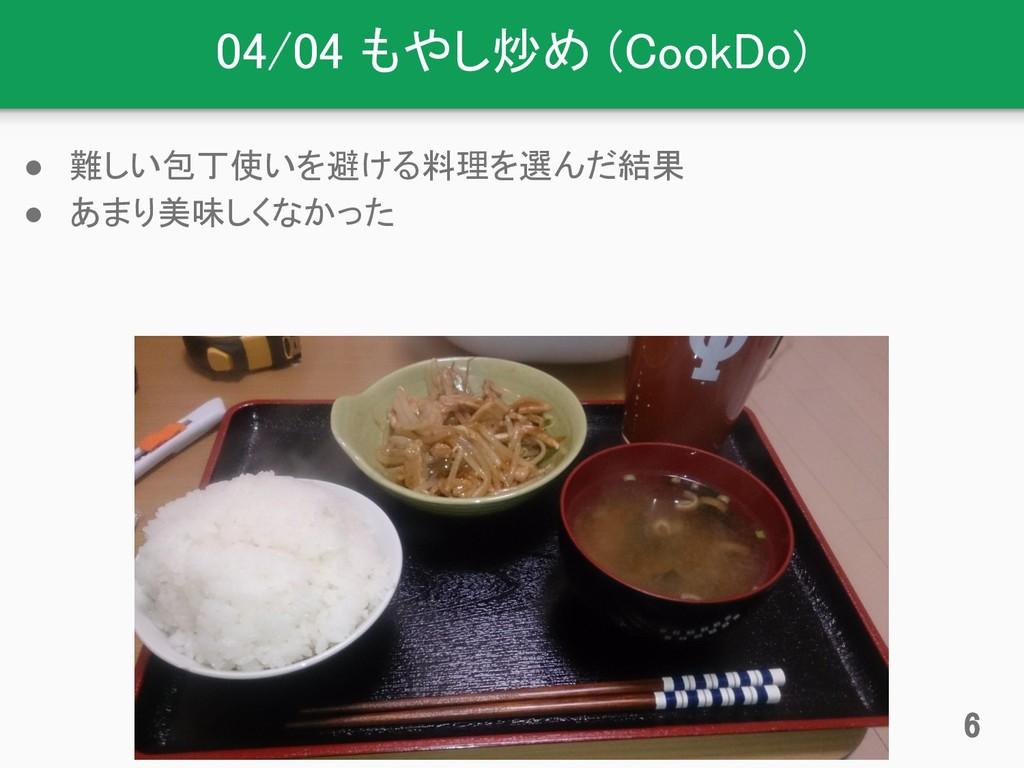 04/04 もやし炒め (CookDo) ● 難しい包丁使いを避ける料理を選んだ結果 ● あま...