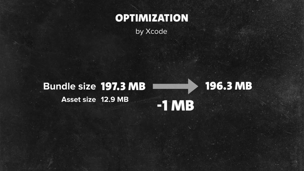 OPTIMIZATION Asset size 12.9 MB 197.3 MB 196.3 ...