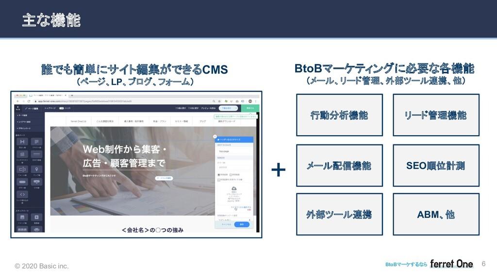© 2020 Basic inc. BtoBマーケするなら 6 主な機能 誰でも簡単にサイト編...