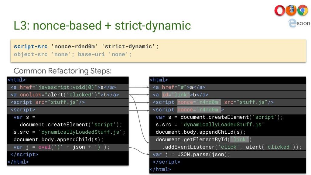 L3: nonce-based + strict-dynamic script-src 'no...