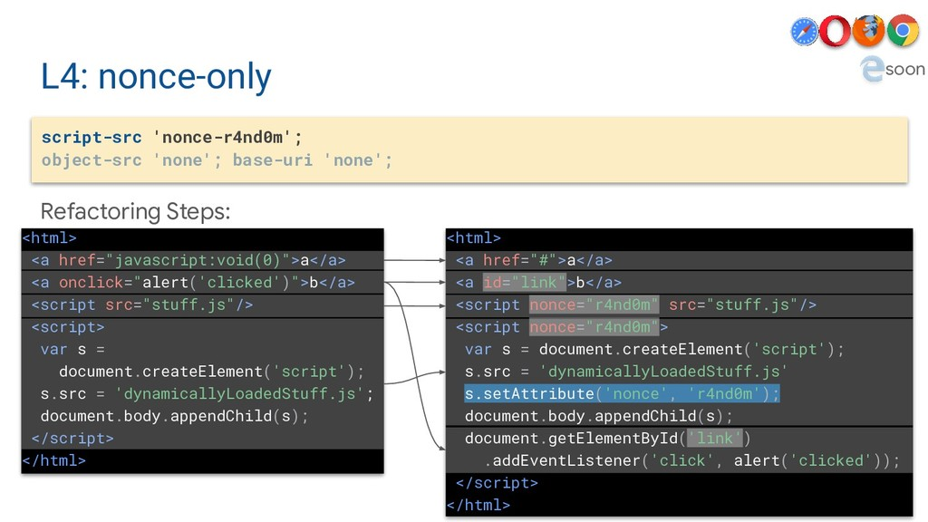 L4: nonce-only script-src 'nonce-r4nd0m'; objec...