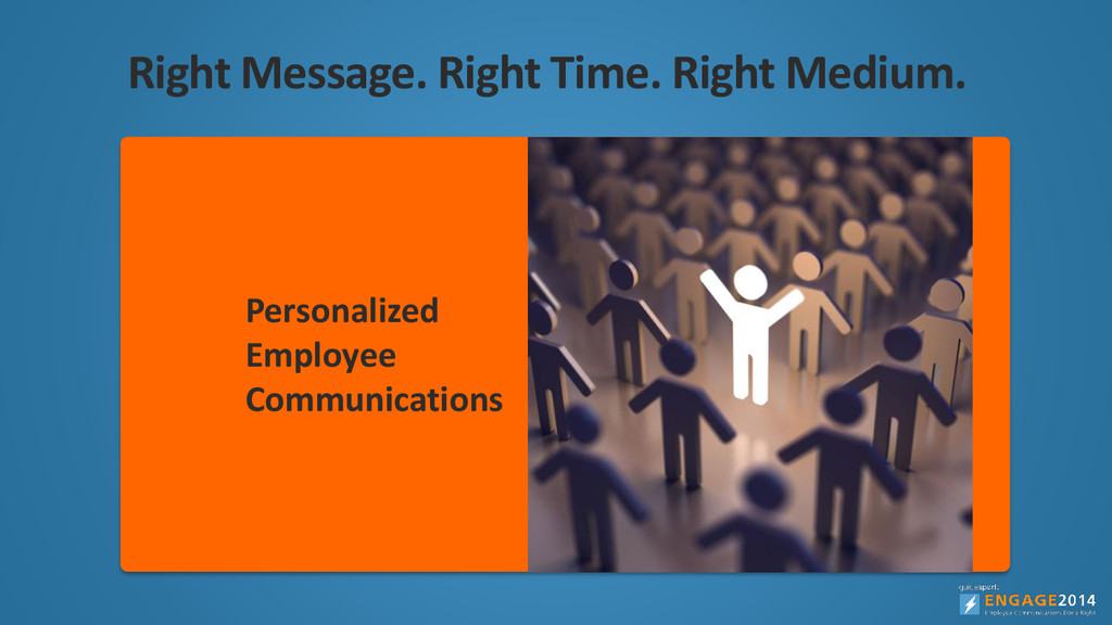 Right Message. Right Time. Right Medium. Engage...