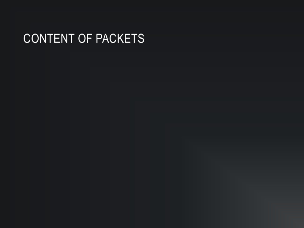 CONTENT OF PACKETS