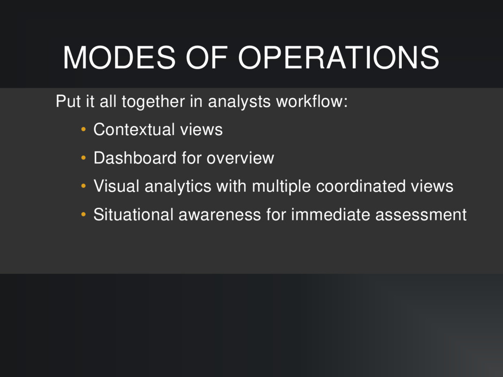 MODES OF OPERATIONS Put it all together in anal...