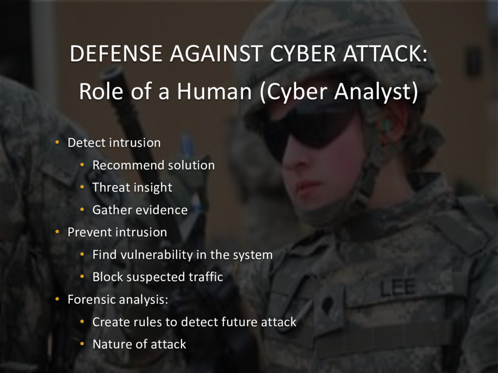 DEFENSE AGAINST CYBER ATTACK: Role of a Human (...