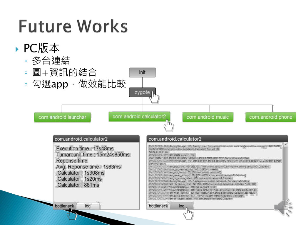  PC版本 ◦ 多台連結 ◦ 圖+資訊的結合 ◦ 勾選app,做效能比較