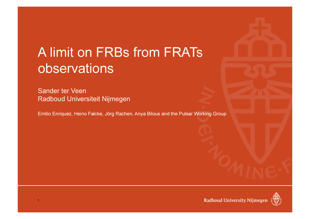 A limit on FRBs from FRATs observations Sander ...