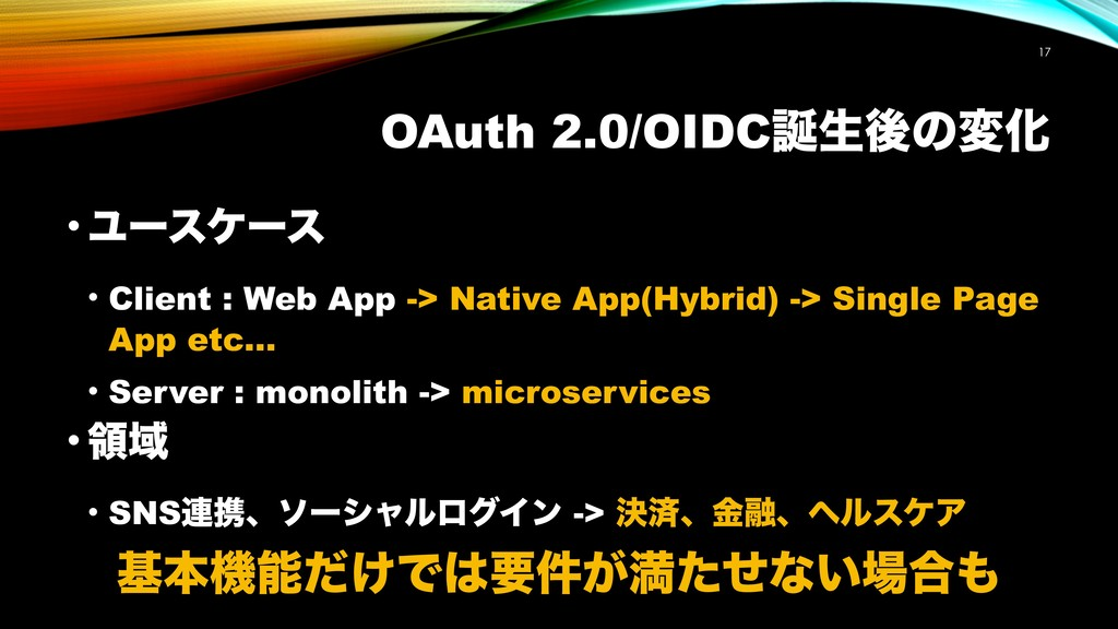 OAuth 2.0/OIDCੜޙͷมԽ !17 • Ϣʔεέʔε • Client : We...
