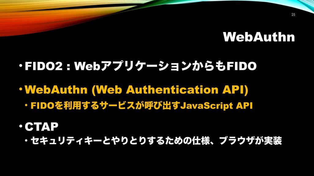 WebAuthn !25 • FIDO2 : WebΞϓϦέʔγϣϯ͔ΒFIDO • Web...