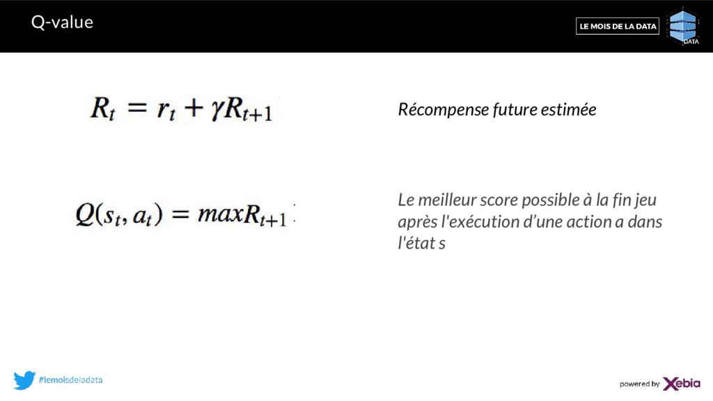 Q-value Récompense future estimée Le meilleur s...