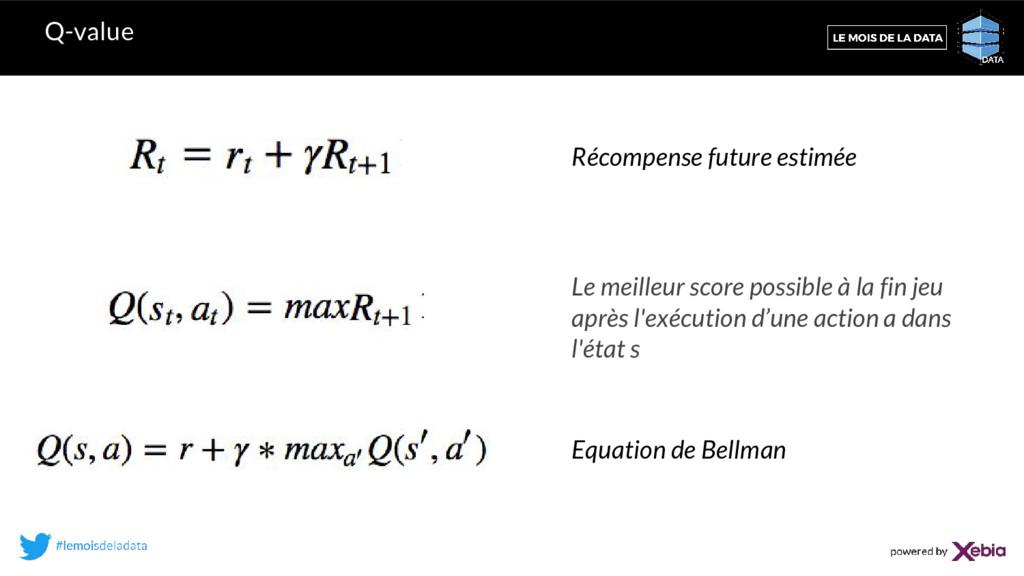 Q-value Récompense future estimée Equation de B...