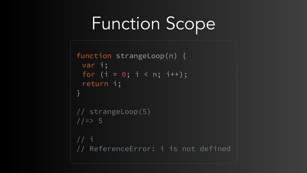 Function Scope function strangeLoop(n) { var i;...