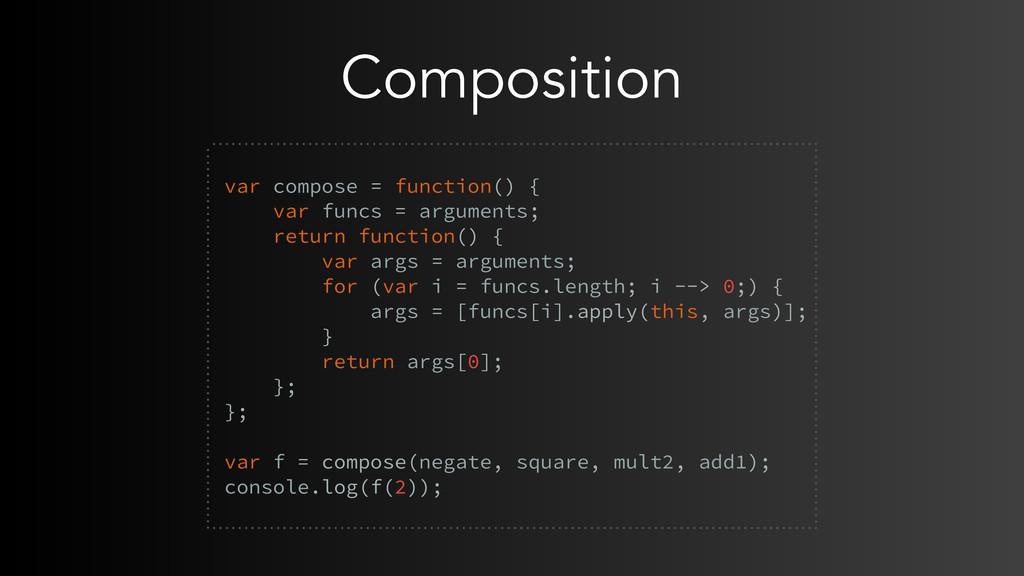 Composition  var compose = function() { var fu...