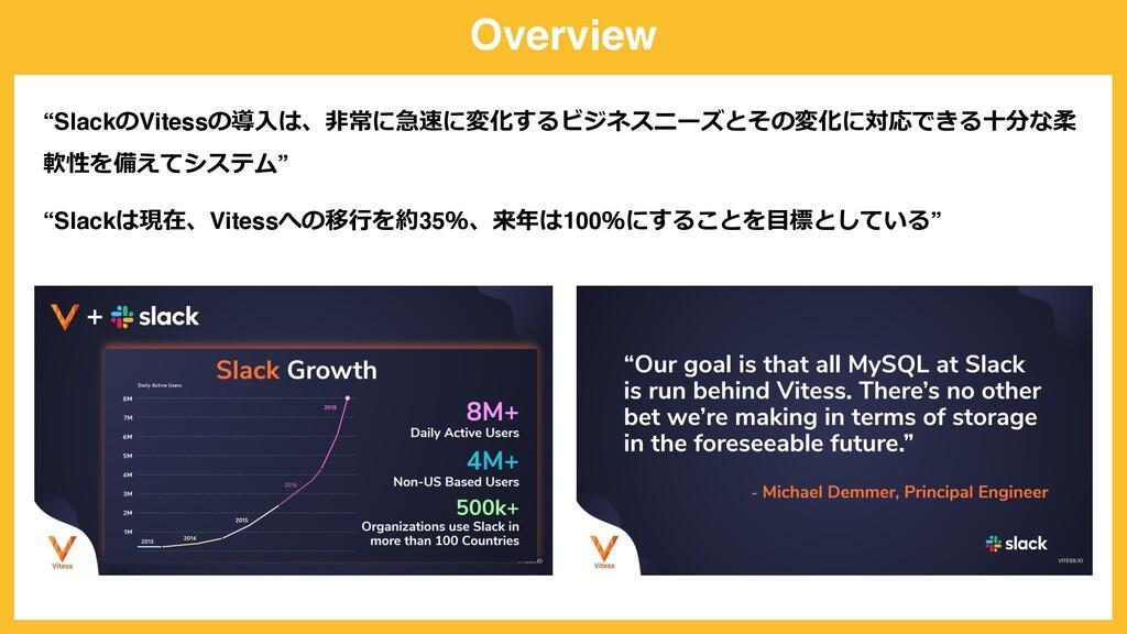 """Overview """"SlackのVitessの導⼊は、⾮常に急速に変化するビジネスニーズとその..."""