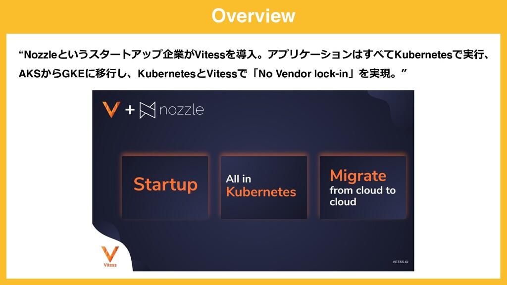 "Overview ""Nozzleというスタートアップ企業がVitessを導⼊。アプリケーション..."