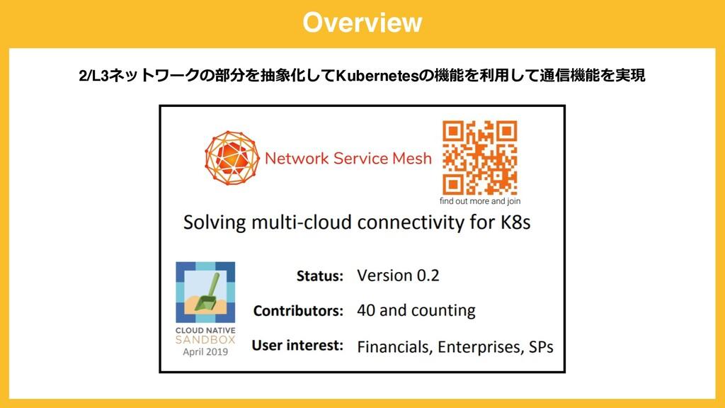 Overview 2/L3ネットワークの部分を抽象化してKubernetesの機能を利⽤して通...