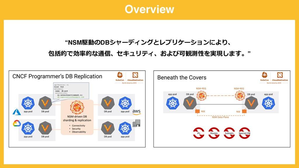 "Overview ""NSM駆動のDBシャーディングとレプリケーションにより、 包括的で効率的な..."
