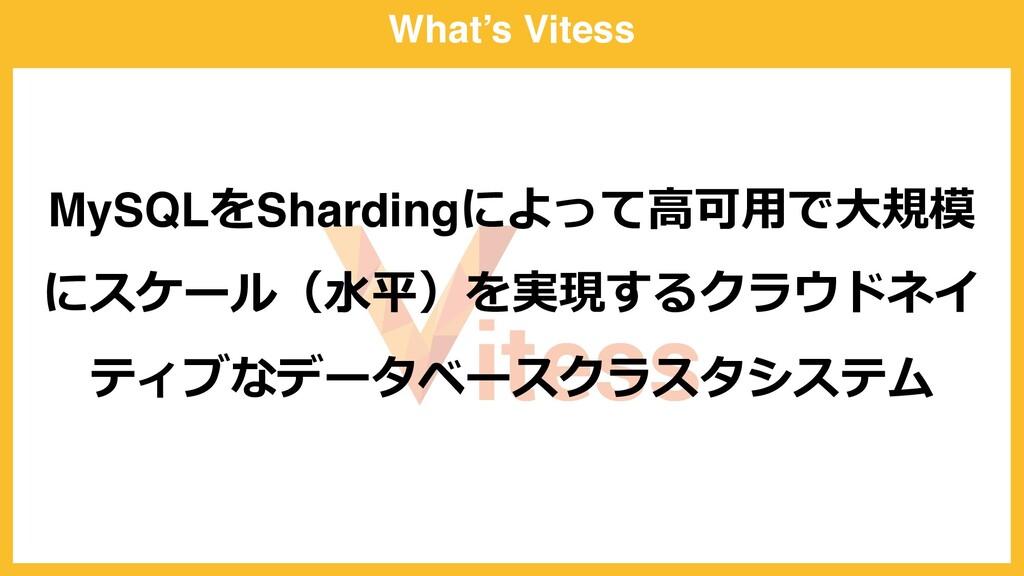 What's Vitess MySQLをShardingによって⾼可⽤で⼤規模 にスケール(⽔...
