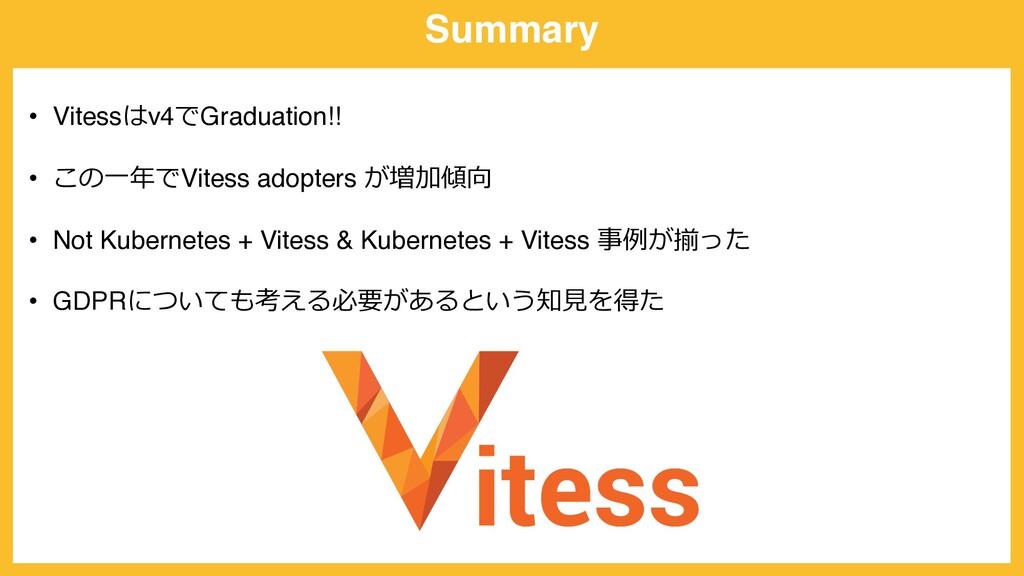 Summary • Vitessはv4でGraduation!! • この⼀年でVitess ...