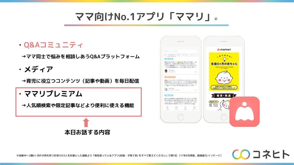 ママ向けNo.1アプリ「ママリ」 ※ ・Q&Aコミュニティ  →ママ同士で悩みを相談しあうQ&...