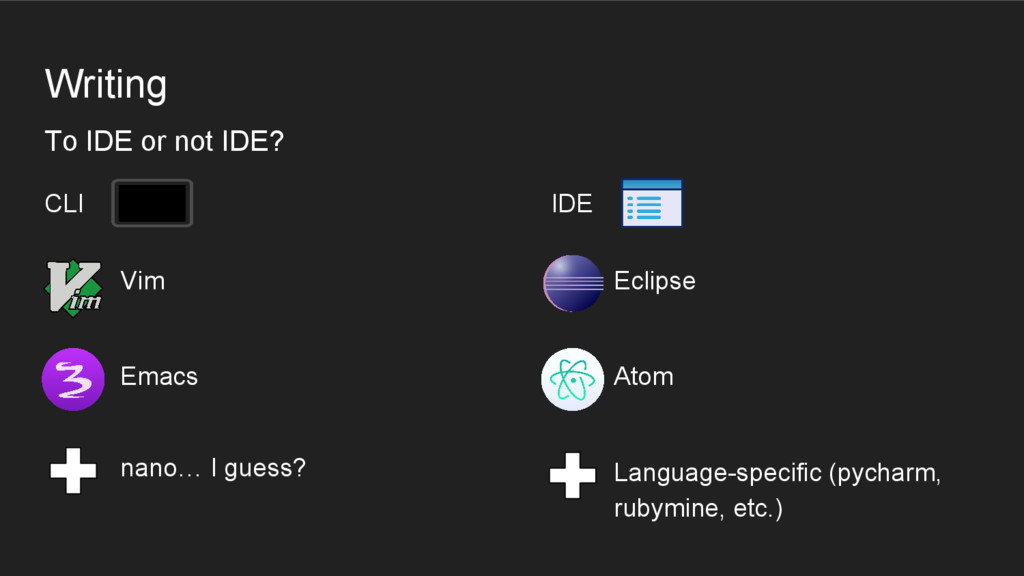 Writing CLI IDE To IDE or not IDE? Eclipse Atom...