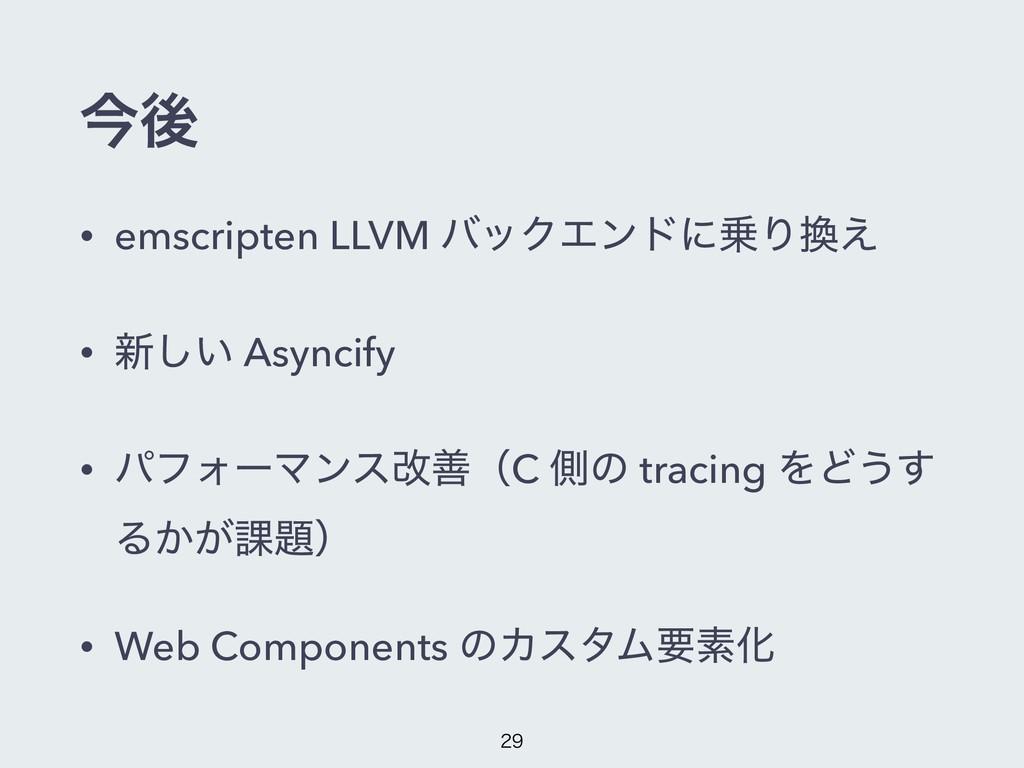 ࠓޙ • emscripten LLVM όοΫΤϯυʹΓ͑ • ৽͍͠ Asyncify...