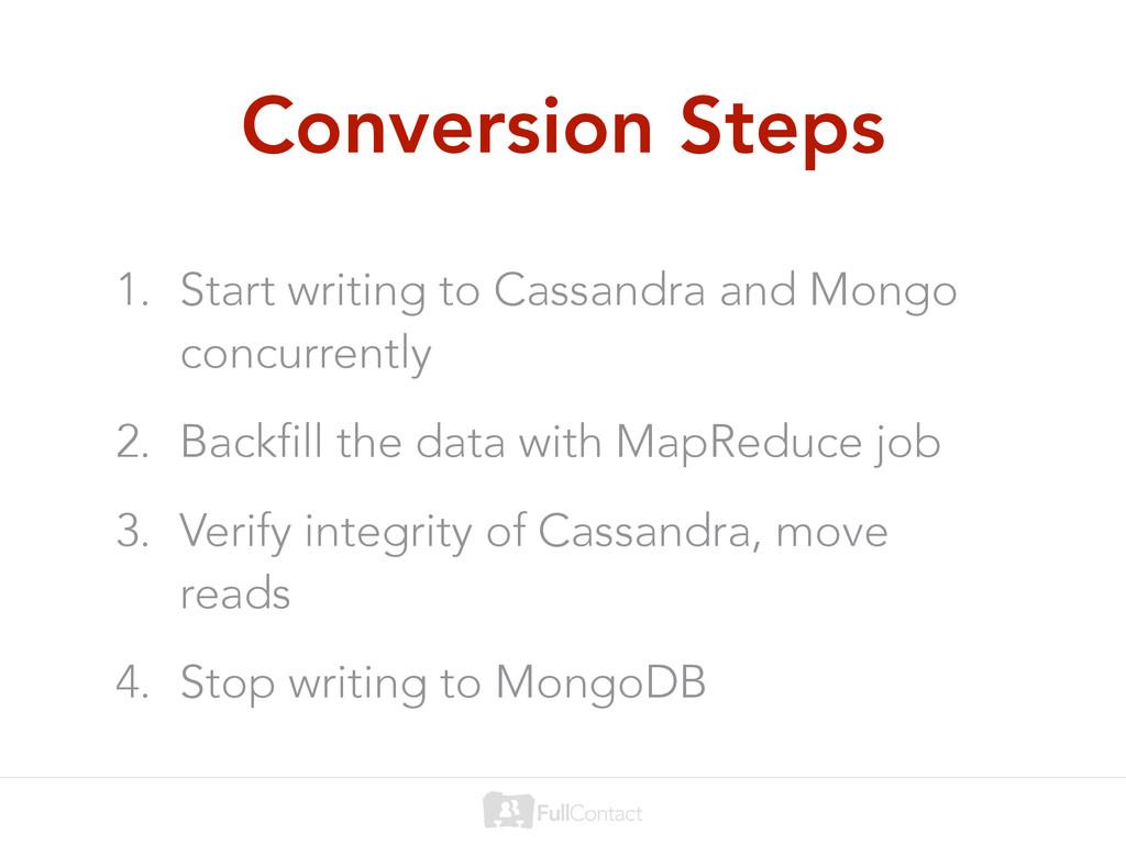 Conversion Steps 1. Start writing to Cassandra ...