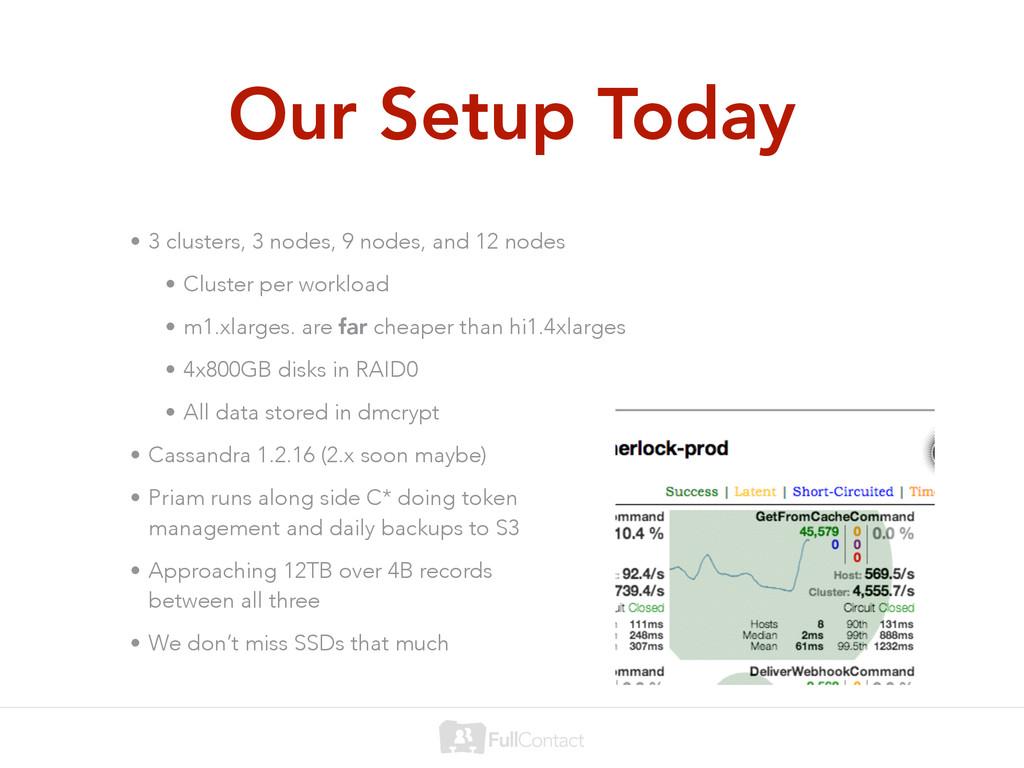 Our Setup Today • 3 clusters, 3 nodes, 9 nodes,...
