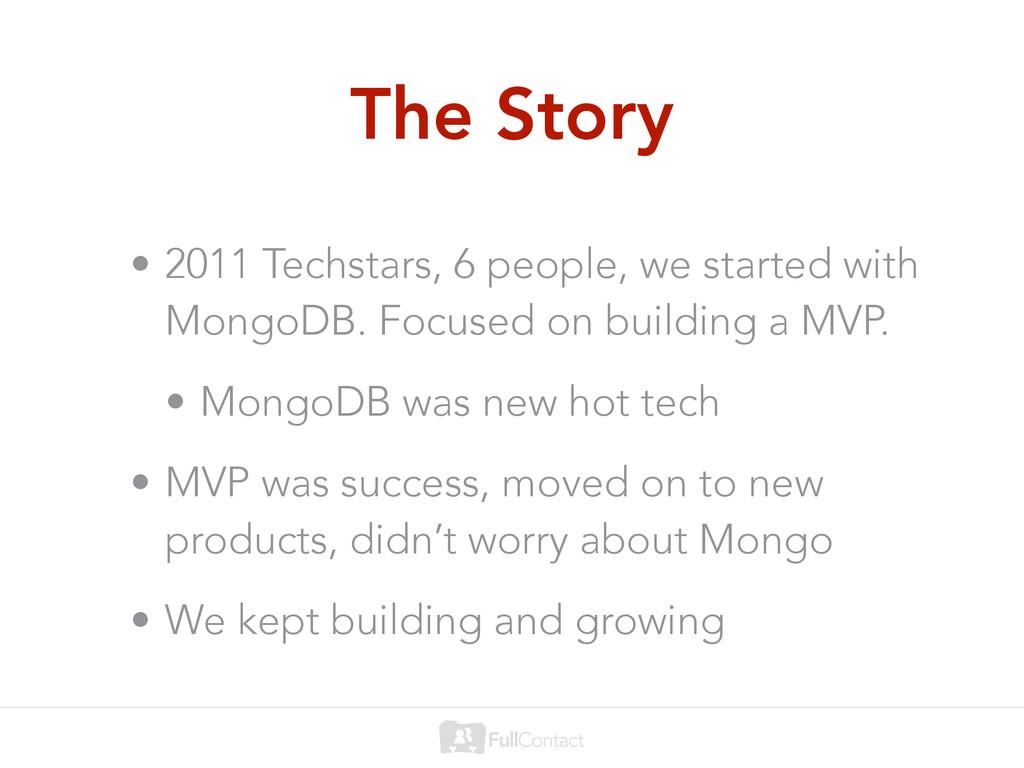 The Story • 2011 Techstars, 6 people, we starte...