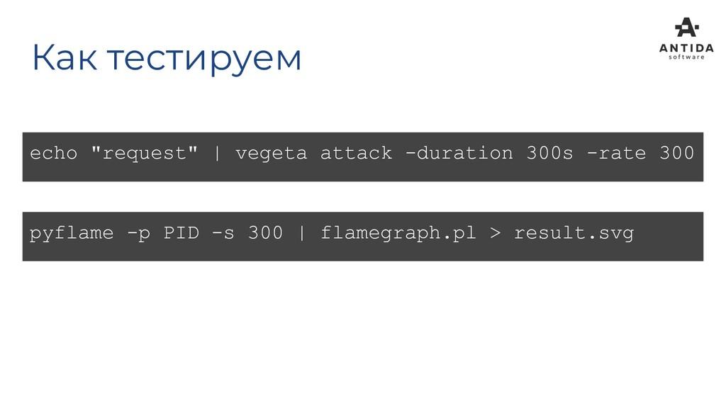 "Как тестируем echo ""request"" | vegeta attack -d..."