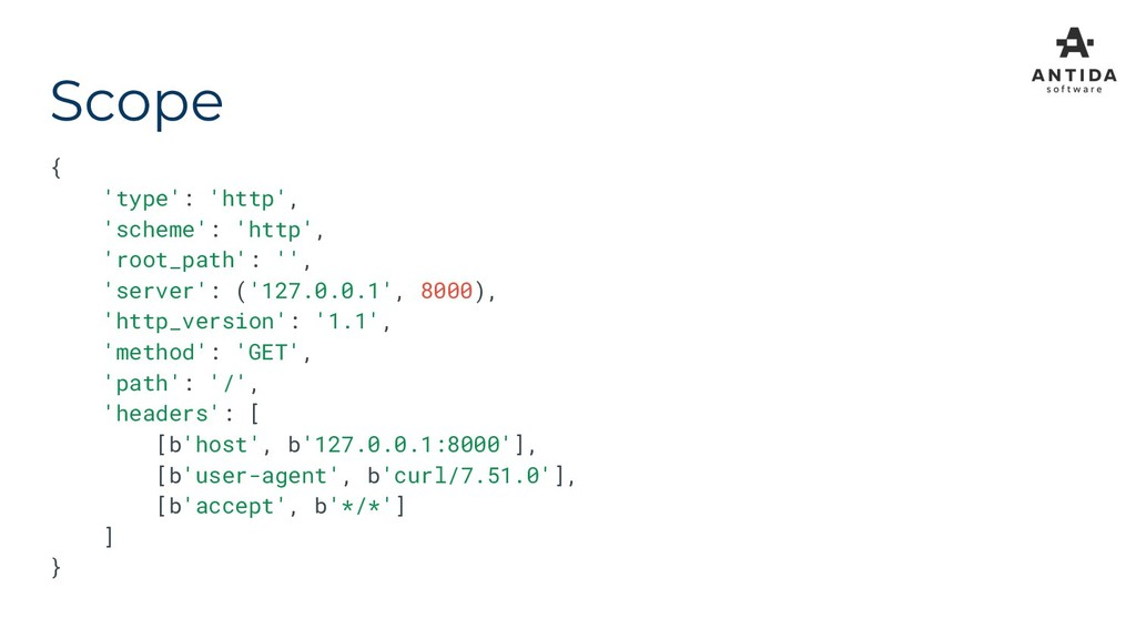 Scope { 'type': 'http', 'scheme': 'http', 'root...