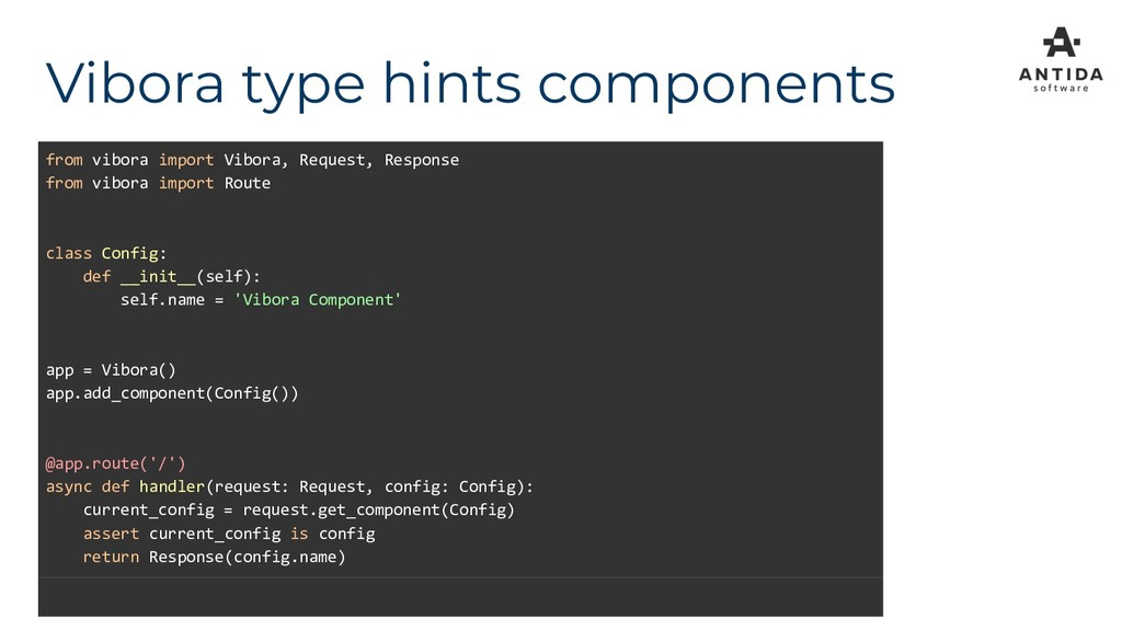 Vibora type hints components from vibora import...