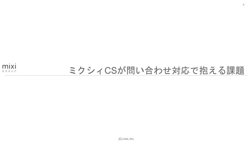 (C) mixi, Inc. 4 ミクシィCSが問い合わせ対応で抱える課題
