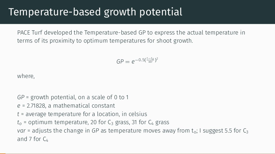 Temperature-based growth potential PACE Turf de...