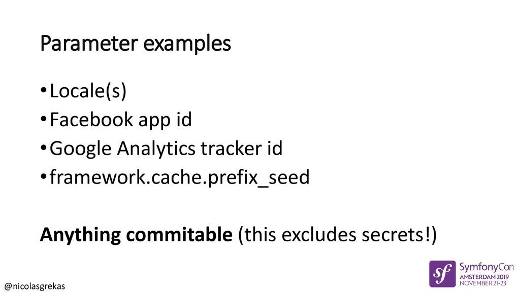 @nicolasgrekas Parameter examples •Locale(s) •F...
