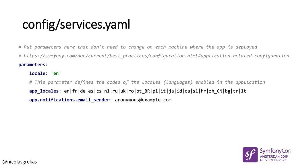 @nicolasgrekas config/services.yaml # Put param...