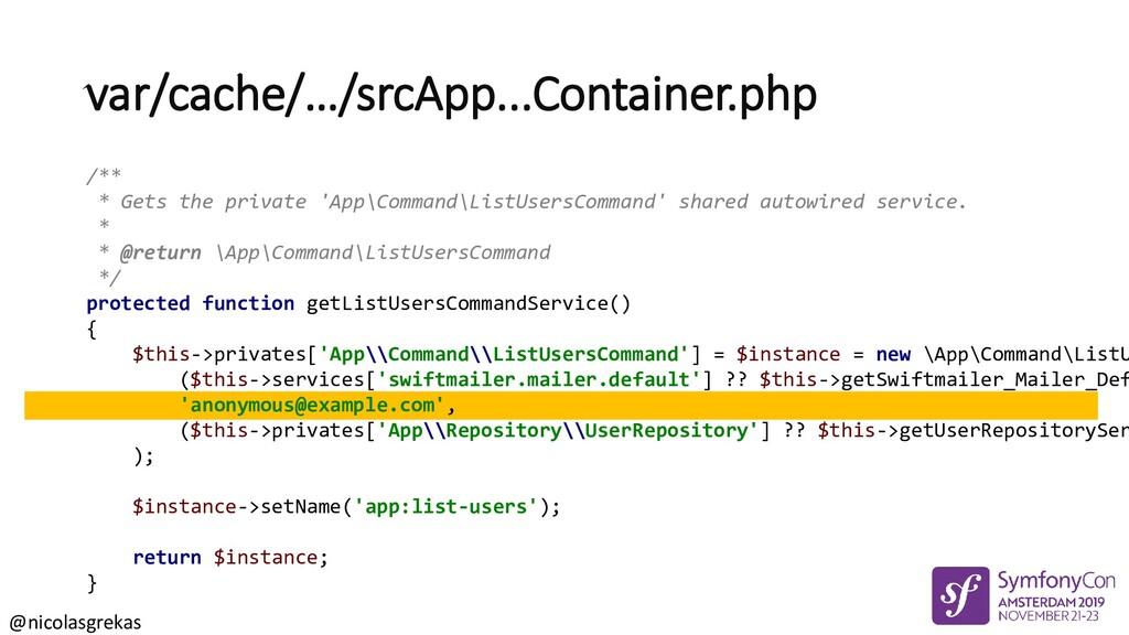 @nicolasgrekas /** * Gets the private 'App\Comm...